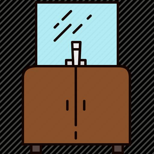 bathroom, cabinet, doors, furniture, mirror, sink icon