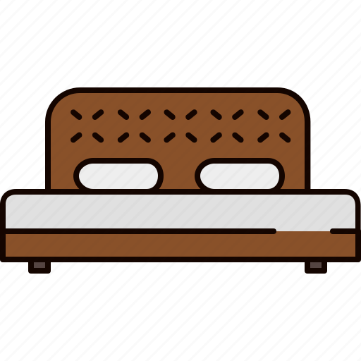 bed, bedroom, double, fabric, furniture, wooden icon