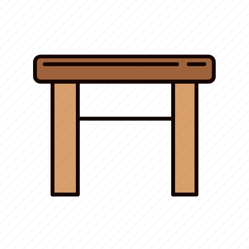 furniture, stool, table, wooden icon