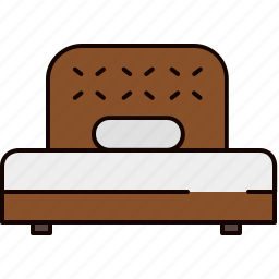 bed, bedroom, fabric, furniture, twin, wood icon