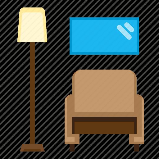 belongings, chair, furniture, household, households, living, room icon