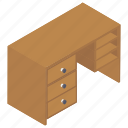 computer desk, furniture, home interior, workplace table, workspace desk icon