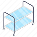catering cart, food trolley, handcart, pushcart, serving trolley icon