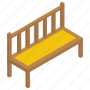 garden furnishings, lawn bench, outdoor furniture, park bench, wooden bench icon