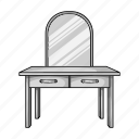 design, furniture, interior, mirror, object, table, toilet icon