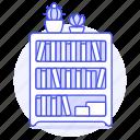 book, books, bookshelf, furniture, objects, plant, pot, shelf, succulent icon