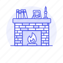 books, brick, candle, fireplace, frame, furniture, objects, picture, self icon