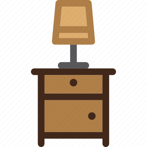 bedside, furniture, lamp, light, nightstand, table icon