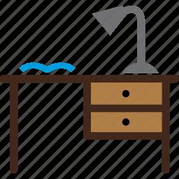 desk, furniture, lamp, study, wrinting icon