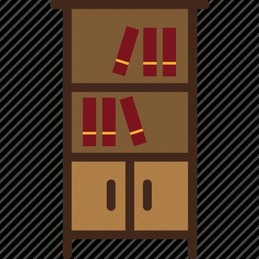 bookcase, books, bookshelf, furniture icon