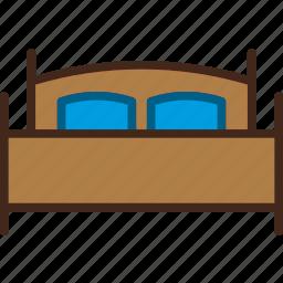 bed, bedroom, double, furniture, sleeping icon