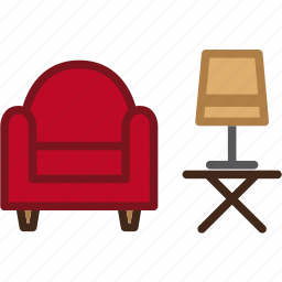 armchair, couch, furniture, interior, lamp, light, sofa icon