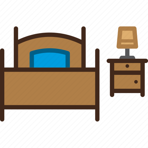bed, bedroom, bedside, furniture, nightstand, single, table icon