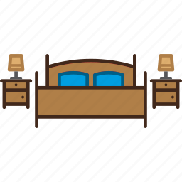 bed, bedroom, double, furniture, lamps, nightstand icon