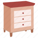 bedside, cabinet, cupboard, drawers, night, nightstand, table icon
