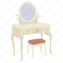 dressing, furniture, lowboy, makeup, mirror, table, vanity icon