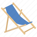 beach, chair, deck, deckchair, folding, furniture, outdoor icon