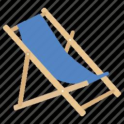 beach, chair, deck, deckchair, folding, furniture, outdoor icon