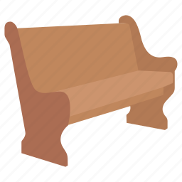 bench, church, furniture, park, pew, seat icon