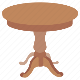 antique, cocktail, coffee, furniture, round, stool, table icon