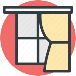 curtain, furniture, home window, living room window, window icon