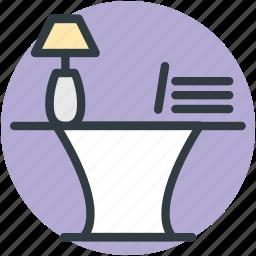 bureau, desk drawer, office desk, office table, study desk, table lamp icon