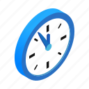 christmas, clock, five, isometric, minutes, new, twelve icon