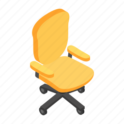 businessman, chair, desk, interior, isometric, office, work icon