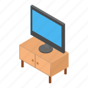 isometric, tv, household, night-table, nightstand, interior, home