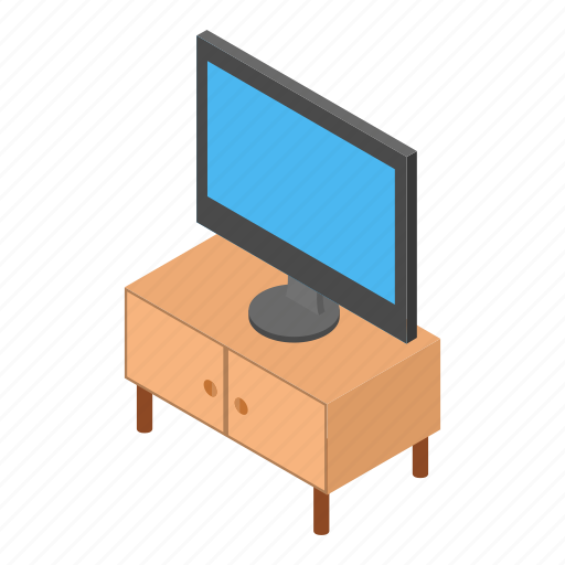 home, household, interior, isometric, night-table, nightstand, tv icon