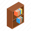 abstract, bookcase, bookshelf, box, brown, interior, isometric