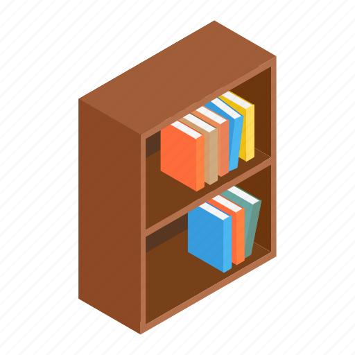 abstract, bookcase, bookshelf, box, brown, interior, isometric icon