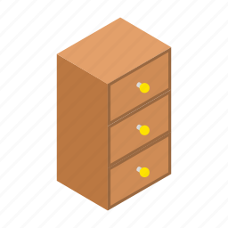 bedroom, chest, color, drawers, furniture, home, isometric icon