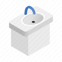 bathroom, ceramic, faucet, isometric, sink, tap, wash icon
