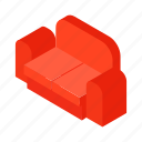 isometric, sofa, couch, interior, home, seat, furniture