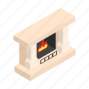 isometric, winter, stove, flame, merry, home, fireplace