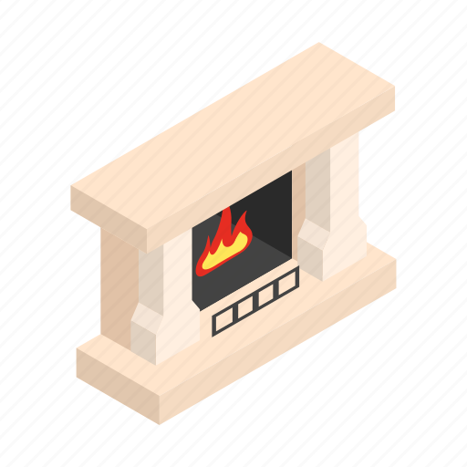 Isometric, winter, stove, flame, merry, home, fireplace icon