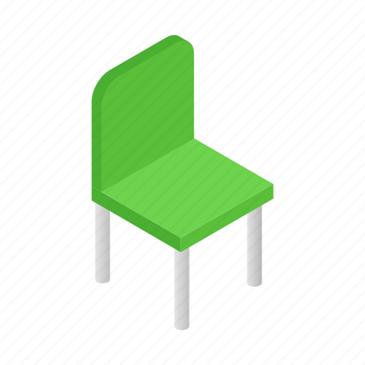 chair, green, isometric, modern, occupation, relaxation, work icon