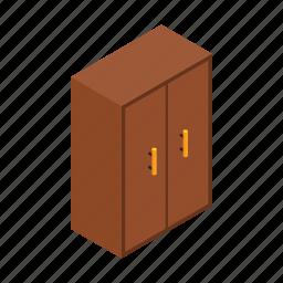 art, bedroom, brown, cupboard, furniture, isometric, isometry icon