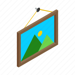 decoration, isometric, photo, photography, picture, square, wall icon