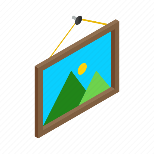 Picture, isometric, square, wall, photo, photography, decoration icon