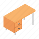 desk, furniture, interior, isometric, office, table, work