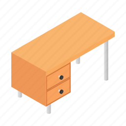 desk, furniture, interior, isometric, office, table, work icon