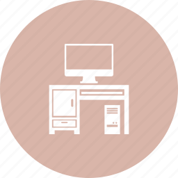 computer, computer desk, computer table, office icon