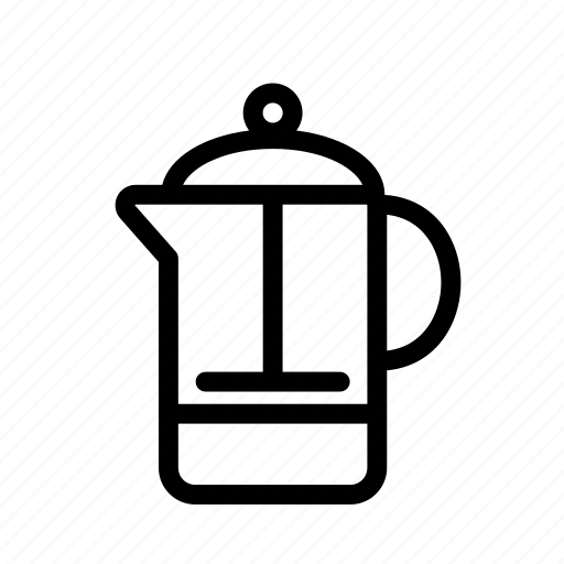 coffee, coffee press, french press, household, kitchen, maker, pot icon