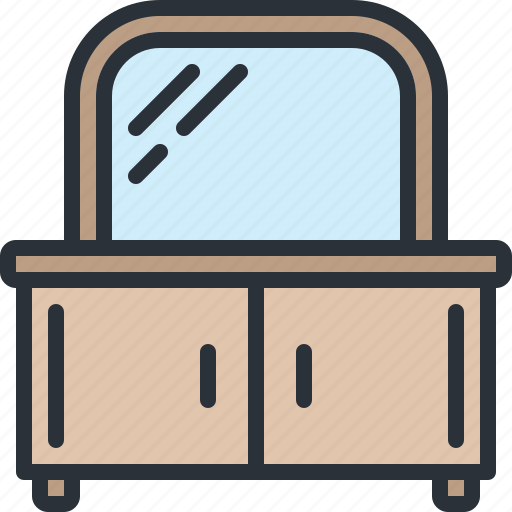 drawer, furniture, home, household, mirror icon
