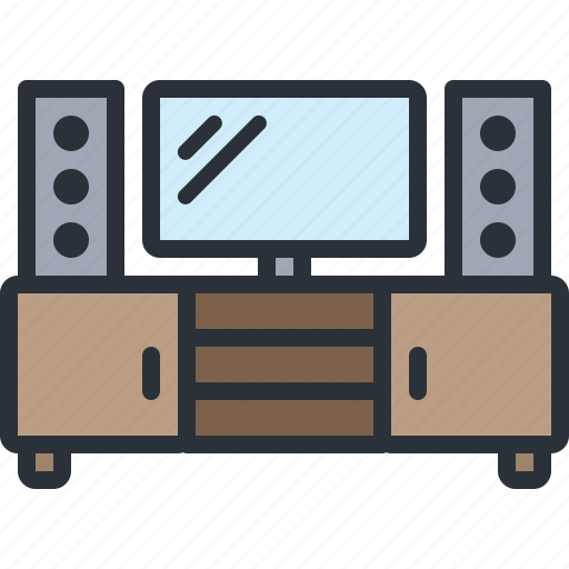 furniture, home, household, table, television, tv icon