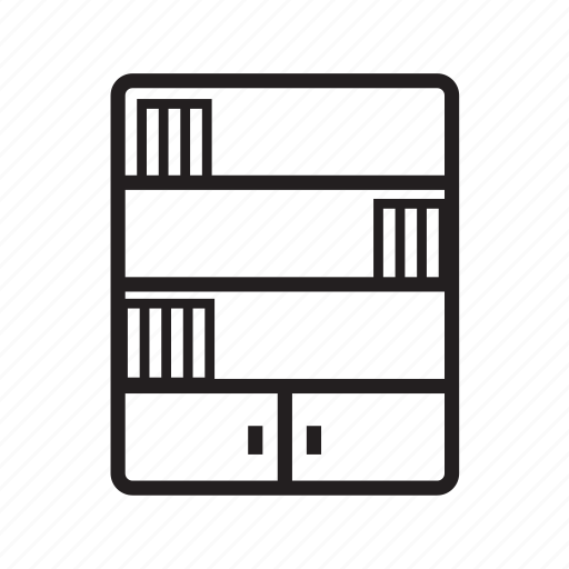 bookcase, bookrack, bookshelf, bookstand, cupboard, furniture icon