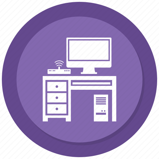 Computer, furniture, interior, table, wifi icon - Download on Iconfinder