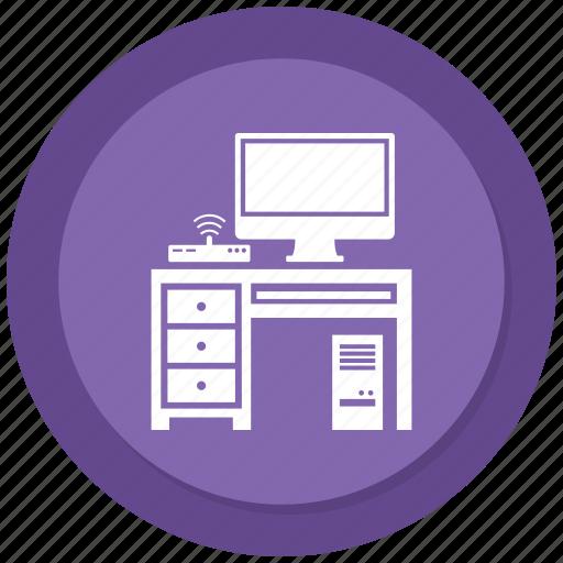 computer, furniture, interior, table, wifi icon